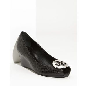 Tory Burch Black Leather Wedges with Silver Buckle